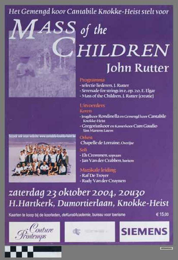 Mass of the Children, John Rutter, zaterdag 23 Oktober 2004, 20u30, H.Hartkerk, Dumortierlaan, Knokke-Heist.