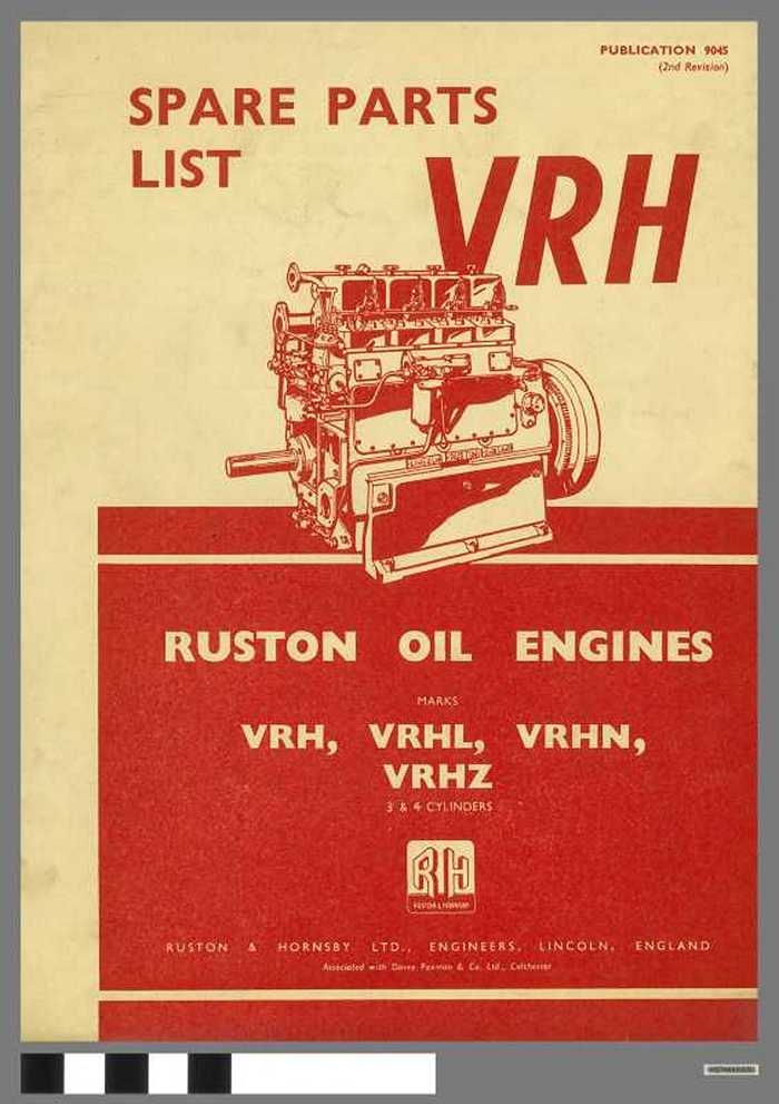 Ruston Oil Engines -  Spare Parts List VRH (publication n° 9045)