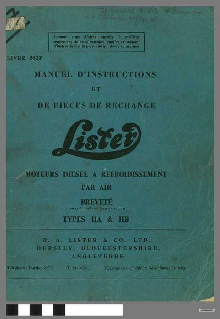 Lister - Manuel D'instructions et de Pieces de rechange