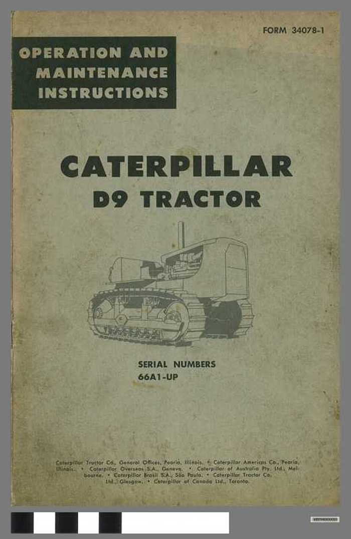 Caterpillar D9 tractor - Serial numbers 66A1-UP