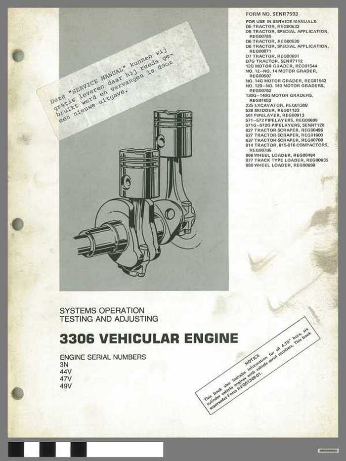 3306 Vehicular Engine - System operation, testing and adjusting
