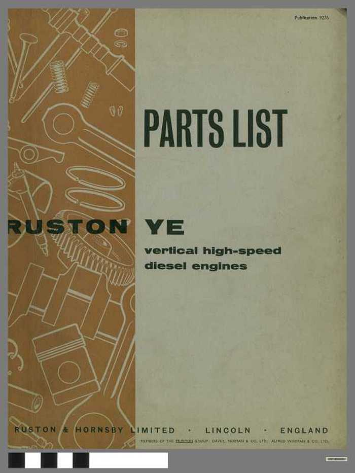 Parts list - Ruston YE  - vertical high-speed diesel engines
