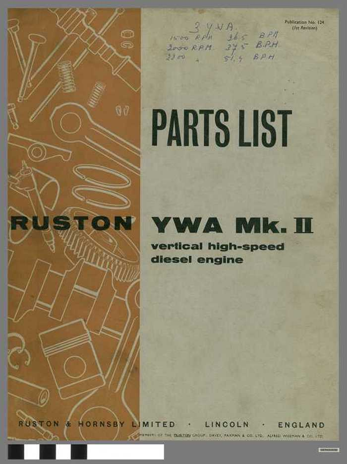 Parts List -  Ruston YWA M.K II  - vertical high-speed diesel engine