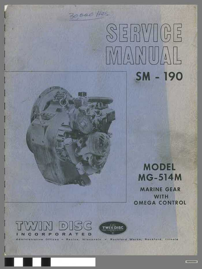 Service manual SM-190 -  Model MG-514 M - Marine gear with omega control