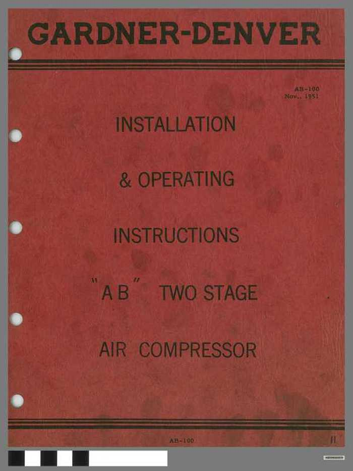 Gardner-Denver - Installation & Operating instructions 'AB' - Two stage air compressor