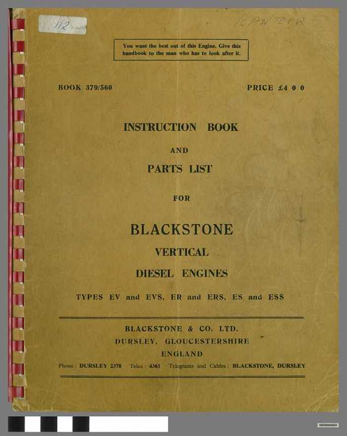 Instruction book and Parts List for Blackstone vertical diesel engines