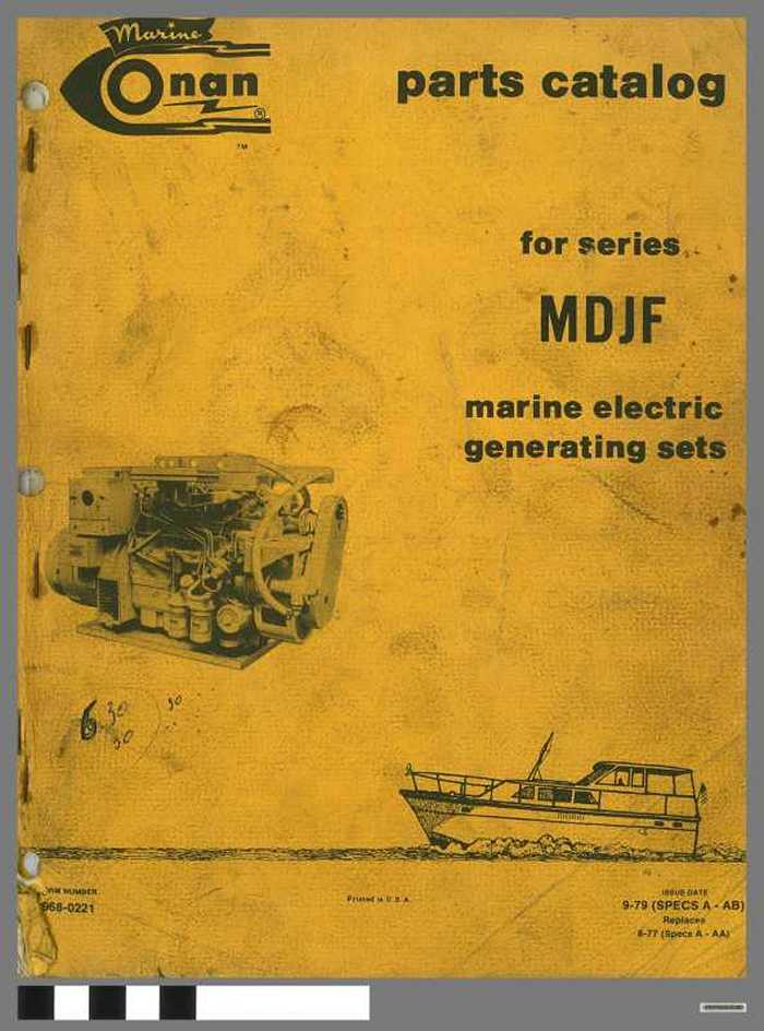 Marine Onan - Parts catalog for series MDJF - Marine Electric generating sets